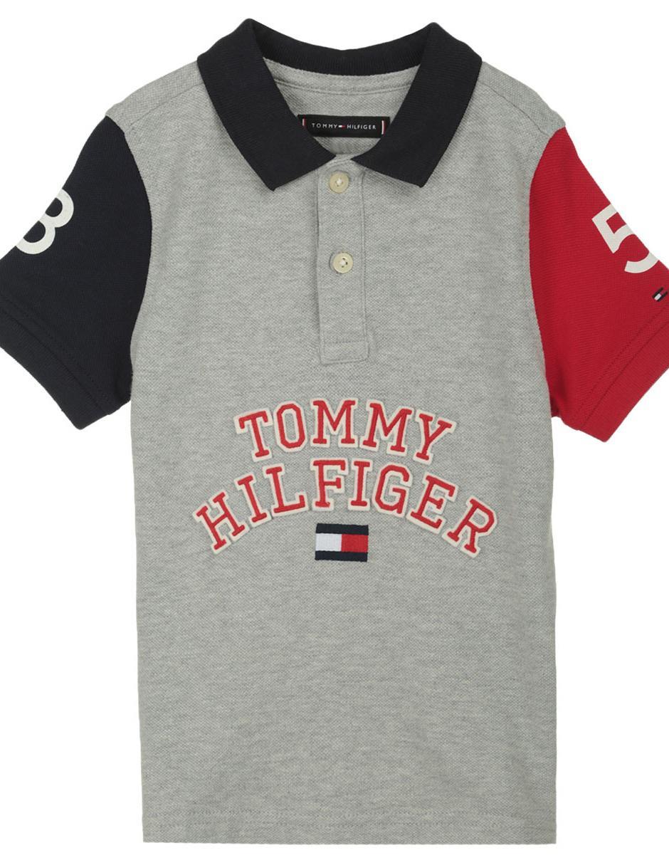 4ea6c36f5d2 Playera tipo polo jaspeada Tommy Hilfiger algodón para niño